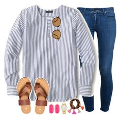 """""""stripes and sandals"""" by emmig02 ❤ liked on Polyvore featuring Paige Denim, J.Crew, H&M, Kendra Scott, Kate Spade and Ray-Ban"""