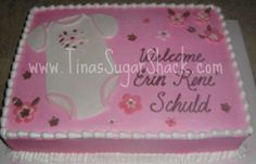baby+shower+sheet+cake+for+girls | Pink and brown onesie cake - Now offering face painting for events and ...