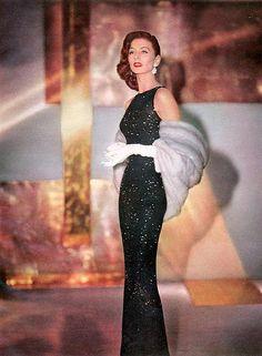 1955 | Flickr (Suzy Parker) vintage fashion 50s long sequin beaded gown black evening wear formal rhinestones fur model magazine
