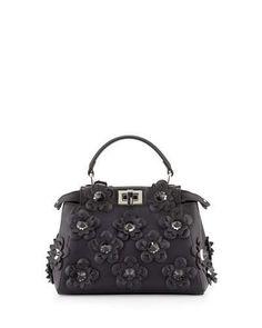 Fendi Bags, Charms & Wallets at Neiman Marcus Fendi Peekaboo Mini, Square Rings, Black Handbags, Neiman Marcus, Satchel Bag, Shoulder Strap, Purses, Flowers, Designer Clothing