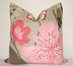 LOVE THIS FABRIC Floral - 20x20 in - Pink - Gray - Fuschia