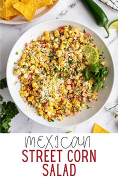 This Mexican Street Corn Salad comes together in one big bowl and is SO simple to make! The perfect summer side dish! Corn Recipes, Side Dish Recipes, Mexican Food Recipes, Party Side Dishes, Summer Side Dishes, Main Dishes, Healthy Salad Recipes, Vegetarian Recipes, Corn In The Oven