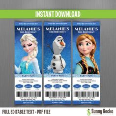 FROZEN PARTY Ticket Invitations (Set 1) - Instant Download and Edit with Adobe Reader on Etsy, $10.00