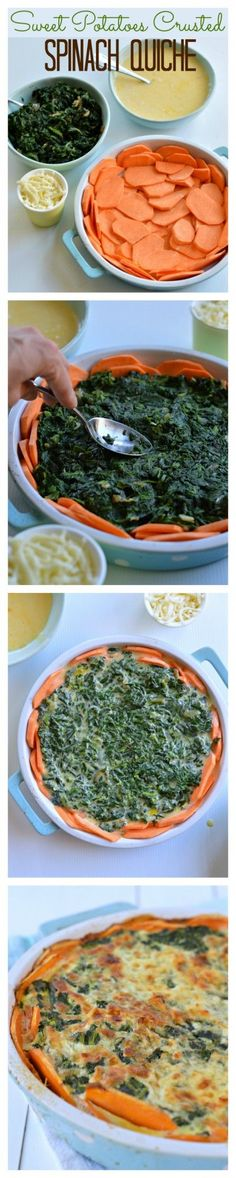 This Sweet Potatoes Crusted Spinach Quiche is  Flourless, and makes a Quick & Easy dinner idea.