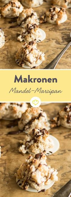 With tender marzipan and tart chocolate, these macaroons .- Mit zartem Marzipan und herber Schokolade haben diese Makronen großes Potenzial… With soft marzipan and tart chocolate, these macaroons have great potential to become real favorites. Fun Desserts, Delicious Desserts, Dessert Recipes, Dessert Diet, Food Cakes, Baking Recipes, Cookie Recipes, Almond Macaroons, Chocolate Macaroons