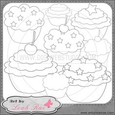 Patriotic Cupcakes 1 - Art by Leah Rae Digi Stamps