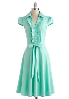 Dress in Mint - Cotton, Long, Summer, Mint, Solid, Buttons, Ruffles, Belted, Casual, A-line, Cap Sleeves, Collared, Vintage Inspired, 50s, Pastel, Spring, Variation, Pinup