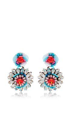 Flower Crystal Earrings by Shourouk - Moda Operandi