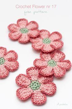 Crochet Flower nr free pattern by Anabelia Craft Design Crochet Daisy, Crochet Butterfly, Crochet Leaves, Knitted Flowers, Easy Crochet, Crochet Small Flower, Crochet Flower Scarf, Unique Crochet, Crochet Applique Patterns Free
