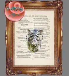 Arizona Javelina Desert Wildlife with Round Rim Eyeglasses Art - Beautifully Upcycled Vintage Dictionary Page Book Art Print by CocoPuffsArt on Etsy