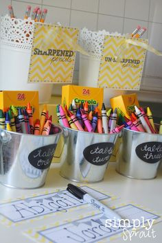 Love the sharpened and unsharpened pencil buckets from Ikea!