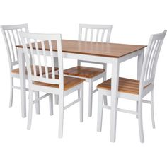 Catalina Dining Table and 4 White and Natural Chairs - Homebase