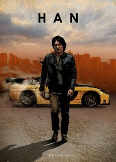 """Car Legends Han Lue Mazda artwork by artist """"Eden Design"""". Fast And Furious, The Furious, Auto Poster, Car Posters, Movie Posters, Vin Diesel, Mazda, Sung Kang, Eden Design"""