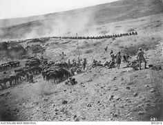 The Australian Light Horse Brigade 'trekking' by the Sea of Galilee en route for Rosh Pina. This is the right hand image in a two part panorama. See for the combined image. World War One, First World, Sea Of Galilee, Hand Images, Palestine, Armed Forces, Trekking, Ww2, Melbourne