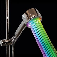 rainbow shower, it turns colors from the led lights, could a shower be even more fun than it is? HAVE to find this for the kids bathroom, they will freak out!