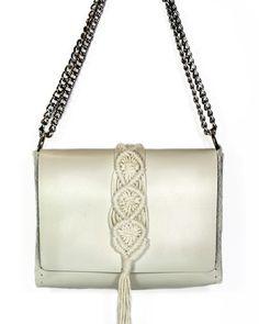 """Vanity"" Vanilla leather & macrame bag Macrame Bag, Macrame Design, Double Chain, Black Leather Bags, Hand Stitching, Ss, Vanilla, Shoulder Bag, Black Leather Handbags"