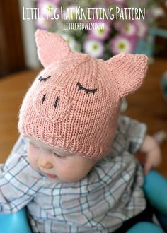 Make this sweet little piggy hat with Lion Brand Vanna's Choice! Free knit pattern by Little Red Window!