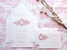 Belle Fleur Wedding Invitations by merrymint on Etsy