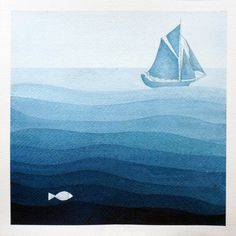 Print sailboat illustration, blue, watercolor painting, nautical nursery art by VApinx Drucken Sie Segelboot Abbildung blau Aquarell Maritime Nautical Wall Decor, Nautical Nursery, Nursery Art, Sailboat Nursery, Ocean Nursery, Monochromatic Paintings, Monochrome Painting, Monochrome Color, Meer Illustration
