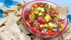Fresh Peach Pineapple Salsa Peach Salsa, Pineapple Salsa, Summer Salsa, My Cookbook, Salsa Recipe, Stuffed Jalapeno Peppers, Fresh Lime Juice, Food Print, Real Food Recipes