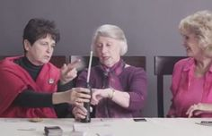 Watch three elderly grandmothers eat Doritos and ask about queefing after smoking weed for the first time.