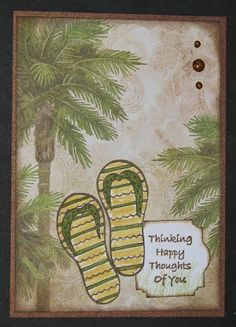 Thinking Of You - Palm Tree Flip Flop Card - Just For Fun Rubber STamps