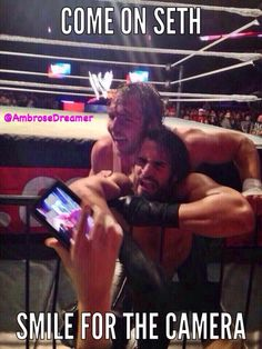 Dean Ambrose posing for a picture with Seth Rollins Dean Ambrose Seth Rollins, Wwe Dean Ambrose, Wrestling Superstars, Wrestling Wwe, Wwe Funny, Seth Freakin Rollins, The Shield Wwe, Thing 1, Wwe Wrestlers