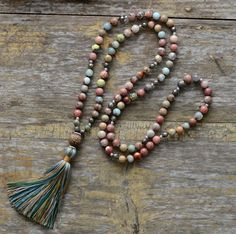 Add a touch of boho to any outfit. This beautiful beaded necklace is handmade from semi precious stone beads. Necklace Types, Gemstone Necklace, Gemstone Beads, Tassel Necklace, Necklace Ideas, Diy Necklace, Necklace Designs, Unique Necklaces, Handmade Necklaces