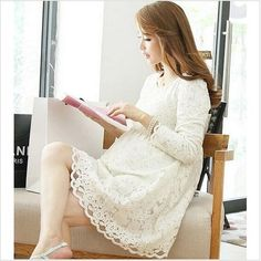 Maternity clothes long sleeve dress lace maternity dress 2015 fashion long sleeve large size lace dresses for Pregnant Women #Affiliate
