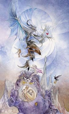 Stephanie Pui-Mun Law - Shadowscapes Tarot - Fantasy Art, Such a great take on addiction. Fantasy Kunst, Fantasy Art, Expressive Art, Major Arcana, Oracle Cards, Tarot Decks, Watercolor Art, Portrait, Devil