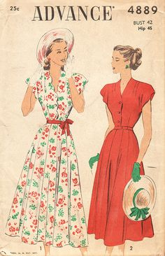 1940s Plus Size Belted Button Front Dress with Scalloped Edges - Vintage Advance Sewing Pattern 4889 - 42 Bust - UNUSED