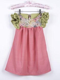 Robe liberty fronces fille chic été cérémonie mariage fleurs + Barrette offerte  : Mode filles par bcbebe