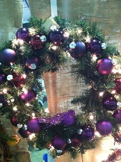 Purple ornament christmas wreath by JCamdenDesigns on Etsy Gold Christmas Ornaments, Christmas Swags, Purple Christmas, Christmas Door, A Christmas Story, All Things Christmas, Vintage Christmas, Christmas Holidays, Christmas Crafts