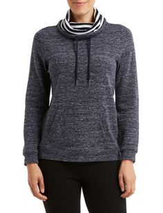 This chic nautical inspired sweatshirt will keep you cosy on chilly days. It features a cowl neck with stripe contrast lining and drawstring, allowing you to tighten it against the cold, plus a front kanga pocket. A great look with navy chinos. Navy Chinos, Hoodies, Sweatshirts, Cowl Neck, Cosy, Nautical, Contrast, Pocket, Inspired