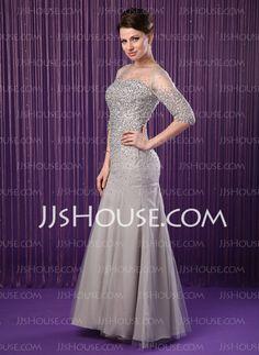 Mermaid Scoop Neck Floor-Length Chiffon Tulle Mother of the Bride Dresses With Beading Sequins (008019704)