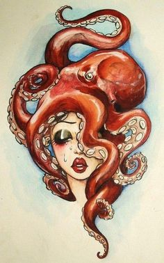 Octopus Woman: such a creative and interesting piece of art that would make a great almost pin-up like tattoo.... like if she was a mermaid/half fish