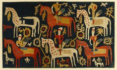 Kaitag silk embroidery, before 1800, Horses and Riders panel, southwest Dagestan, сaucasian republic in Russian Federation.