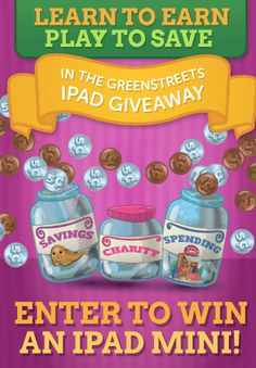 Win an iPad Mini to celebrate the new app, GreenStreets: Shmootz Happens! Kids learn smart money skills like budgeting, giving to charity, turning off lights and faucets when not in use, sorting recyclables and compostables, and avoiding pollution—all while rescuing endangered animals! Cute game!