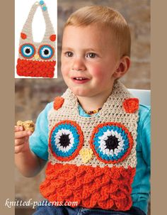 Ravelry: Owl Bib pattern by Kristi Simpson Crochet Baby Bibs, Crochet For Kids, Baby Knitting, Free Crochet, Knit Crochet, Crochet Hats, Afghan Crochet, Bib Pattern, Free Pattern