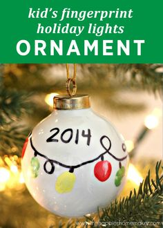 All you need is a plain ornament and paint to create this DIY kid's ornament. This personalized and festive craft will look perfect hanging on your tree this year!