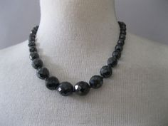 Vintage 1950s Black  Choker  Jet  Glass Faceted by ladyscarletts