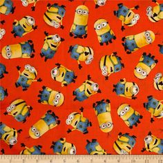 Minions Tossed Orange Universal 1 in a Minion Despicable Me Cotton Fabric per fat quarter per metre by LovelyJubblyFabrics on Etsy