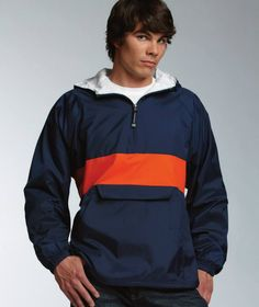 Available in navy/orange, red/black, royal blue/white, black/white, navy/red, navy/gold, pink/white, and red/white.   Wind & water-resistant River Tec™ Nylon with 100% cotton flannel lining throughout pullover for softness. Contrast stripe across chest & back. Conveniently packs into its front pouch pocket for storage. Extended zipper above neck offers extra protection against wind. $47.00 with front monogrammed. $51.00 with front and hood monogrammed