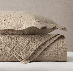 Textured Chevron Weave Cotton-Linen Coverlet & Sham