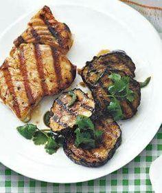 Halibut w/ grilled eggplant salad