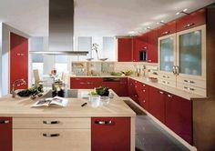 cozinha planejada vermelha