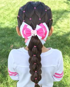 """✨""""You are free to choose, but you are not free from the consequences of your choice. Elastic net style into a pull through bubble stacked braid . Beautiful aristocats Marie bow from . Lil Girl Hairstyles, Pretty Hairstyles, Braided Hairstyles, Children Hairstyles, Toddler Hairstyles, Hairstyles Pictures, Simple Hairstyles, School Hairstyles, Popular Hairstyles"""