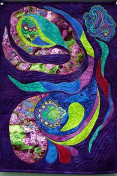 applique art quilt abstract wall hanging by BarbaraHarmsFiberArt