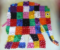 recycled bottletop Elmer made as a collaborative outdoor mural -- by Vicky Tyrrell and Yr1/Yr2 pupils