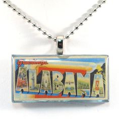 Vintage Large Letter Postcard Pendant Necklace  Greetings by 12be, $14.50
